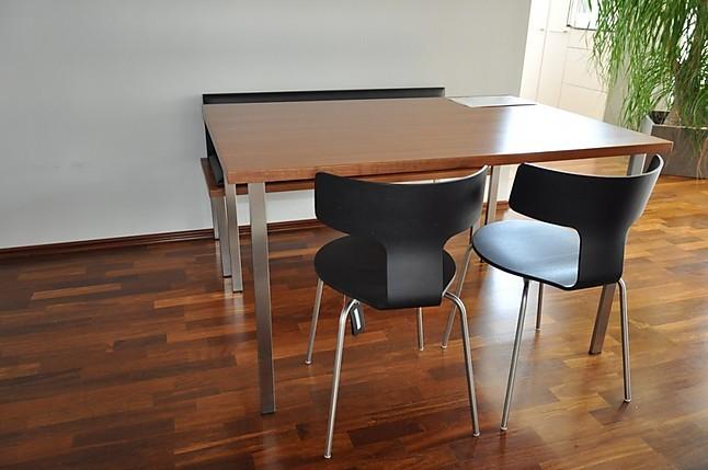 st hle sitzgruppein nussbaum mit schwarzem lederpolster tisch und sitzbank sonstige m bel von. Black Bedroom Furniture Sets. Home Design Ideas