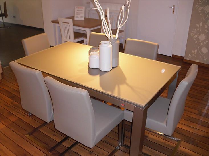 esstische satinato glastisch mit wesco tischgestell und naber stuhl zesen esszimmertisch. Black Bedroom Furniture Sets. Home Design Ideas