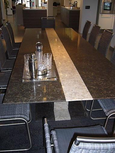 st hle gro er tisch mit tischfeuer esstisch silestone quarzstein f r 10 personen sonstige m bel. Black Bedroom Furniture Sets. Home Design Ideas