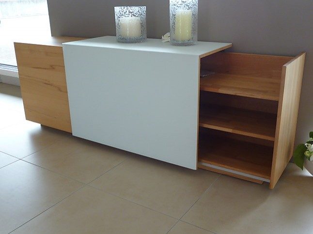 Regale Und Sideboards Team 7 Cubus Sideboard Kernbuche Weissglas
