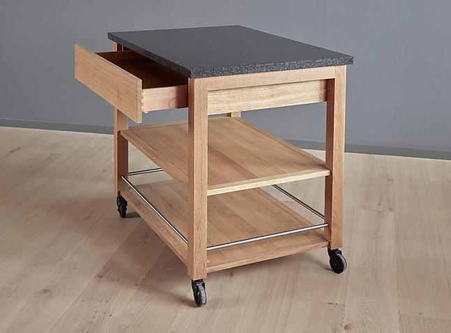 Servierwagen Küchentisch, Tisch, fahrbar auf 4 Rollen 1000x700 885mm Platte Granit Nero Impala ...