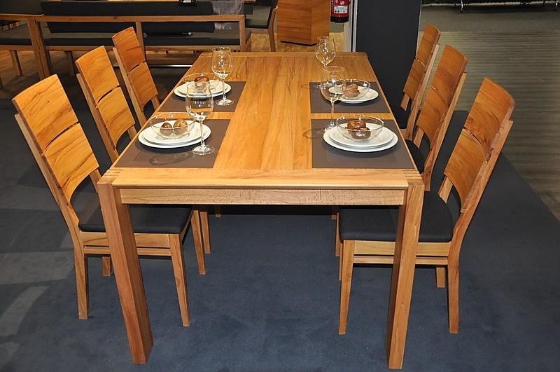esstische tischgruppe lino tischkultur tischgruppe mit 6 st hlen in kernbuche massiv ge lt zum. Black Bedroom Furniture Sets. Home Design Ideas